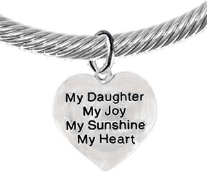 "Message Bracelet, My ""Daughter"", My Joy, My Sunshine, My Heart, Silver Cable Cuff Bracelet - Safe"