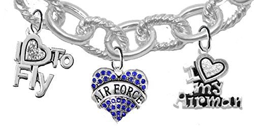 "air force, crystal i love my airman, ""i love to fly"", air force charm, heart clasp chain bracelet"