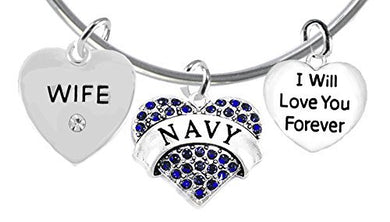 Wife, I Will Love You Forever, Navy Hypoallergenic, Safe - Nickel & Lead Free