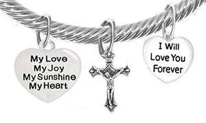 "My Love, My Joy, My Sunshine, My Heart, and ""I Will Love You Forever"" & A Crucifix, Bracelet"