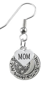 I Love You to The Moon and Back, Mom Earrings Hypoallergenic, Safe - Nickel, Lead & Cadmium Free