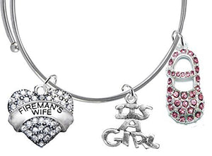 "Fireman's Wife's, ""It's A Girl"", Bracelet, Hypoallergenic, Safe - Nickel & Lead Free"
