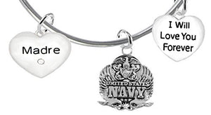 Madre, I Will Love You Forever, Navy Hypoallergenic, Safe - Nickel & Lead Free