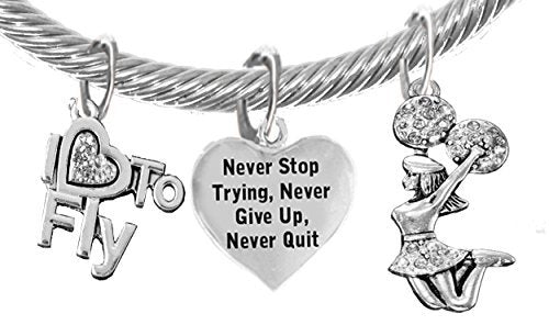 "cheer never give up, never quit, ""i love to fly"", jumping cheerleader genuine cable charm bracelet"