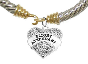 Airline Flight Attendant, Hypoallergenic Genuine Cable Gold/ Silvertone Charm Bracelet, Nickel Free