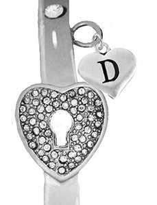 "It Really Locks! The Key to My Heart, ""Initial D"", Cuff Crystal Bracelet - Safe, Nickel & Lead Free"