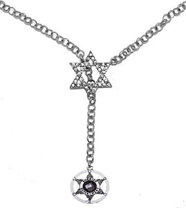 Jewish Sheriff's Crystal Badge, on Star of David, Necklace, Safe - Nickel & Lead Free