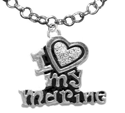marine i love my marine, crystal heart, adjustable necklace, hypoallergenic - nickel & lead free