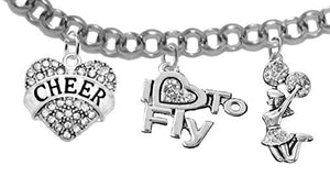 "Cheer Crystal Heart, Crystal ""I Love to Fly"", Jumping Cheerleader, with 3"" Extender, Bracelet"
