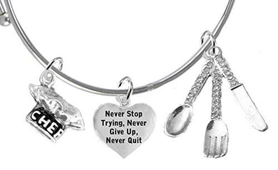 Cooking Jewelry, Never Give Up, Never Stop Trying, Chef Hat, Silverware, Adjustable Bracelet
