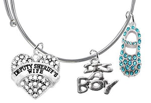 "Deputy Sheriff's Wife's Baby Shower Gifts, ""It's A Boy"", Adjustable Bracelet, Safe - Nickel Free"