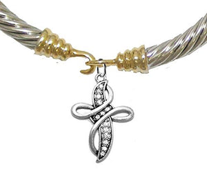 Christian Genuine Crystal Cross, Gold / Silver Cable Bracelet - Safe, Nickel & Lead Free