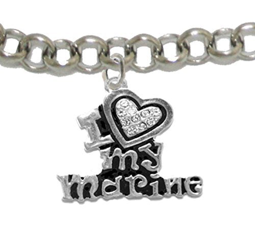 marine i love my marine, crystal heart, adjustable bracelet, hypoallergenic - nickel & lead free