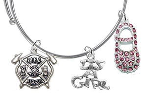 "Rescue Fireman's Wife's, ""It's A Girl"", Bracelet, Hypoallergenic, Safe - Nickel & Lead Free"