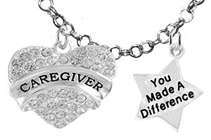 Caregiver, RN, Nurse, You Made a Difference, Adjustable Charm Necklace, Safe - Nickel & Lead Free