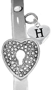 "It Really Locks! The Key to My Heart, ""Initial H"", Cuff Crystal Bracelet - Safe, Nickel & Lead Free"