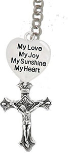 "My Love, My Joy, My Sunshine, My Heart & A Crucifix, - Father, ""Son"", Holy Ghost Charm Necklace"