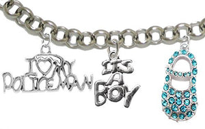 "Policeman's Mom to Be, ""It's A Boy"", Bracelet, Hypoallergenic, Safe - Nickel & Lead Free"