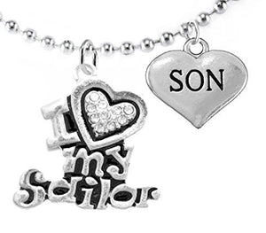 "Navy ""Son"", Children's Adjustable Necklace, Hypoallergenic, Safe - Nickel & Lead Free"