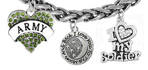 "Army, ""I Love You to The Moon & Back"", Crystal ""I Love My Soldier"", Army Charm, Wheat Chain Bracelet"