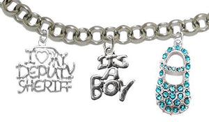"Deputy Sheriff's Mom to Be, ""It's A Boy"", Bracelet, Hypoallergenic, Safe - Nickel & Lead Free"