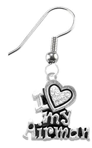 air force, i love my airman, crystal heart earrings hypoallergenic, safe - nickel & lead free