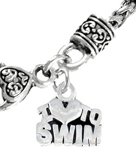 I Love Swimming, Wheat Chain Necklace - Safe, Nickel, Lead & Cadmium Free