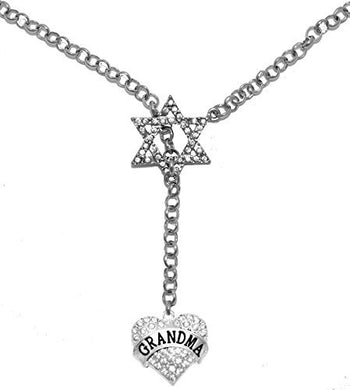 Jewish Grandma Rolo Chain Necklace, Crystal Heart and Star of David, Safe - Nickel & Lead Free