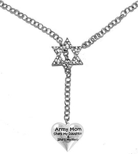 Jewish ArMy Mom, She's My Daughter and She's My Hero, Heart, on Star of David, Rolo Chain Necklace