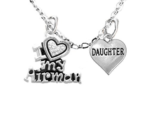 "air force, ""daughter"", children's adjustable necklace, hypoallergenic, safe - nickel & lead free"
