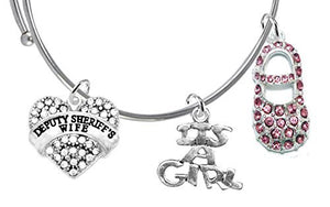 "Deputy Sheriff's Wife's, ""It's A Girl"", Adjustable Bracelet, Safe - Nickel & Lead Free"