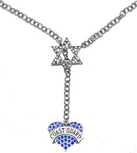 Jewish Coast Guard Crystal Heart, on Star of David, Rolo Chain Necklace, Safe - Nickel & Lead Free