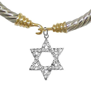 Jewish Crystal Star of David On a Cable Gold / Silver Cuff Bracelet, Safe - Nickel & Lead Free