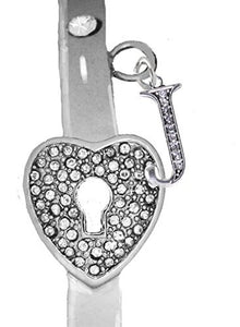 "It Really Locks! The Key to My Heart, ""Initial J"", Cuff Crystal Bracelet - Safe, Nickel & Lead Free"
