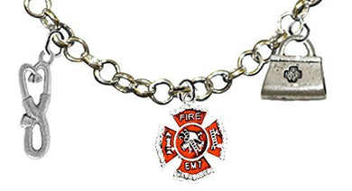 Firefighter EMT, Adjustable Charm Necklace, Hypoallergenic, Safe - Nickel & Lead Free