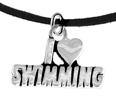 I Love Swimming, Necklace Adjustable Hypoallergenic, Safe - Nickel, Lead & Cadmium Free!