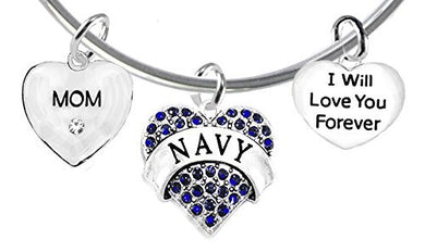 Mom, I Will Love You Forever, Navy Hypoallergenic, Safe - Nickel & Lead Free
