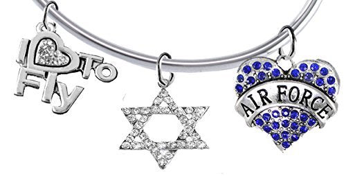 "air force, ""i love to fly"", genuine crystal star of david, adjustable bracelet - safe, nickel free"