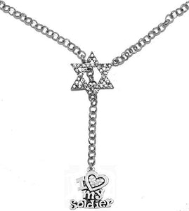 Jewish Army, I Love My Soldier Crystal Heart, on Star of David, Rolo Chain Necklace