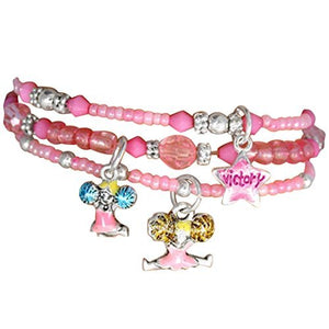 "Children's ""Cheer"" Charm Bracelets (3 Bracelets Tied with Ribbon in Package), Pink - Nickel Free"