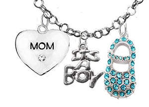 "Baby Shower Gifts, ""Mom"", ""It's A Boy"", Necklace, Hypoallergenic, Safe - Nickel & Lead Free"