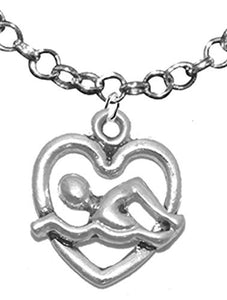 I Love Swimming, Add A Charm Adjustable Necklace - Safe, Nickel, Lead & Cadmium Free