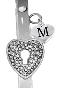 "It Really Locks! The Key to My Heart, ""Initial M"", Cuff Crystal Bracelet - Safe, Nickel & Lead Free"