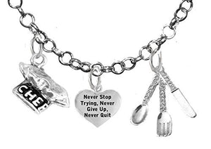 Cooking Jewelry, Never Give Up, Never Quit Trying, Chef Hat, Silverware, Adjustable Necklace