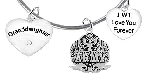 """granddaughter"""", i will love you forever, army, safe - nickel & lead free"""