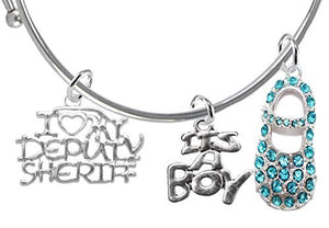 "Deputy Sheriff's Baby Shower Gifts, ""It's A Boy"", Adjustable Bracelet - Safe, Nickel & Lead Free"