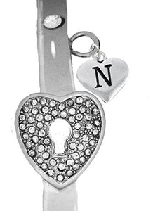 "It Really Locks! The Key to My Heart, ""Initial N"", Cuff Crystal Bracelet - Safe, Nickel & Lead Free"