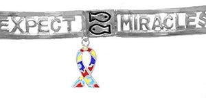 Autism Expect Miracles, The Original, Safe - Nickel & Lead Free, Stretch Bracelet