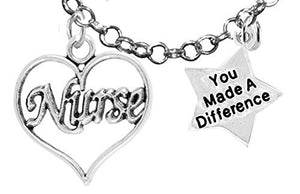 "RN, Nurse, ""You Made a Difference"", Adjustable Charm Necklace - Safe, Nickel & Lead Free"