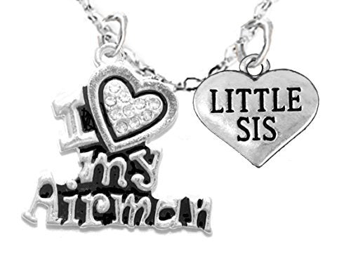 """air force, """"little sis"""", children's adjustable necklace, hypoallergenic, safe - nickel & lead free"""